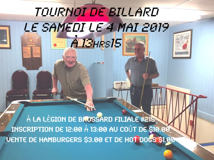 Tournoi de Billard 4 mai 2019
